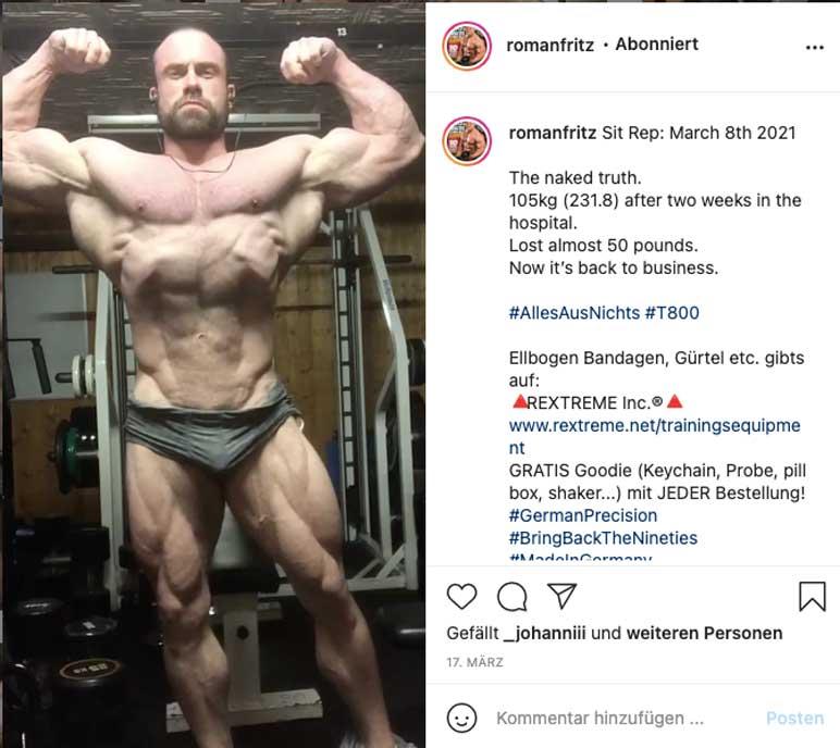 Instagram: Roman Fritz zeigt seine Form 2 Wochen Post-OP
