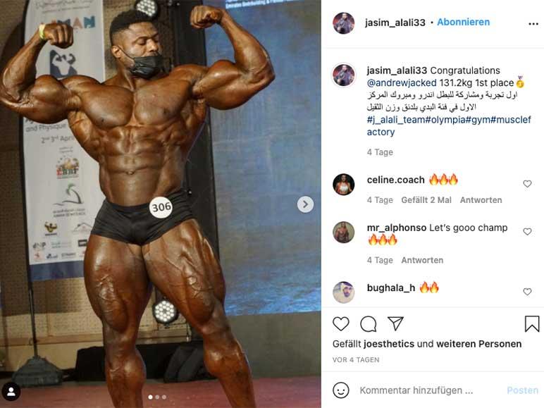 Instagram: Andrew Jacked bei seinem ersten Bodybuilding-Wettkampf