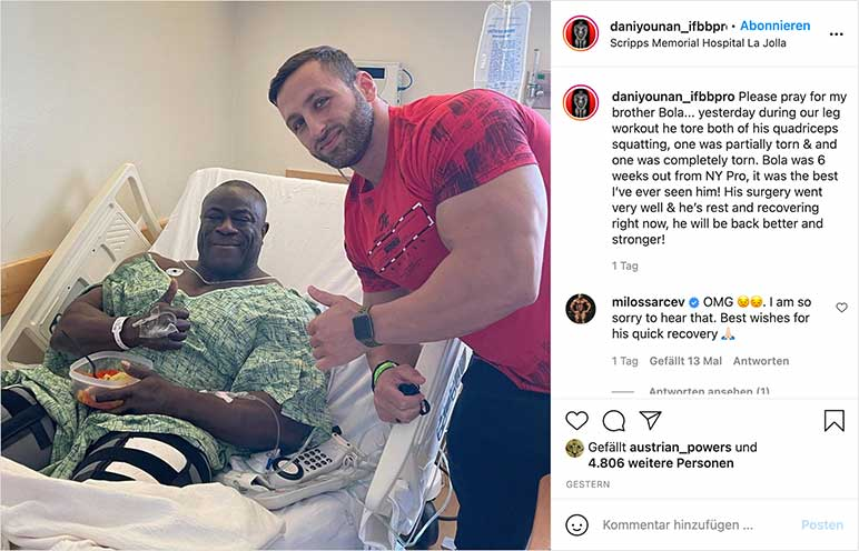 Instagram: Dani Younan im Krankenhaus mit Bola Ojex