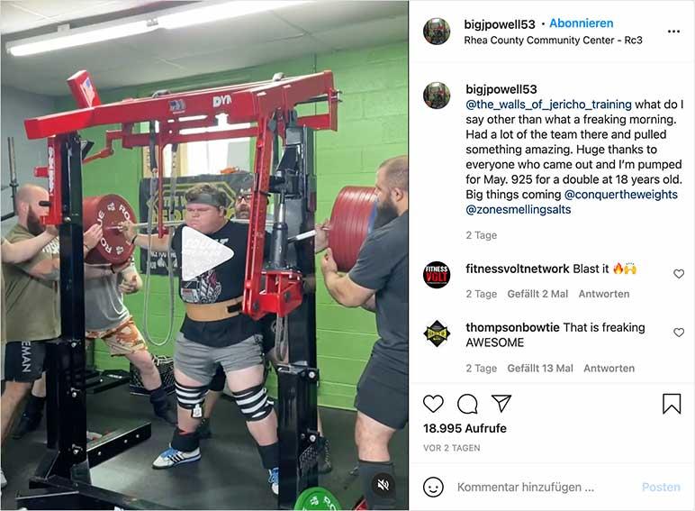 Instagram-Video: Jackson Powell beugt zweimal 420 Kilo
