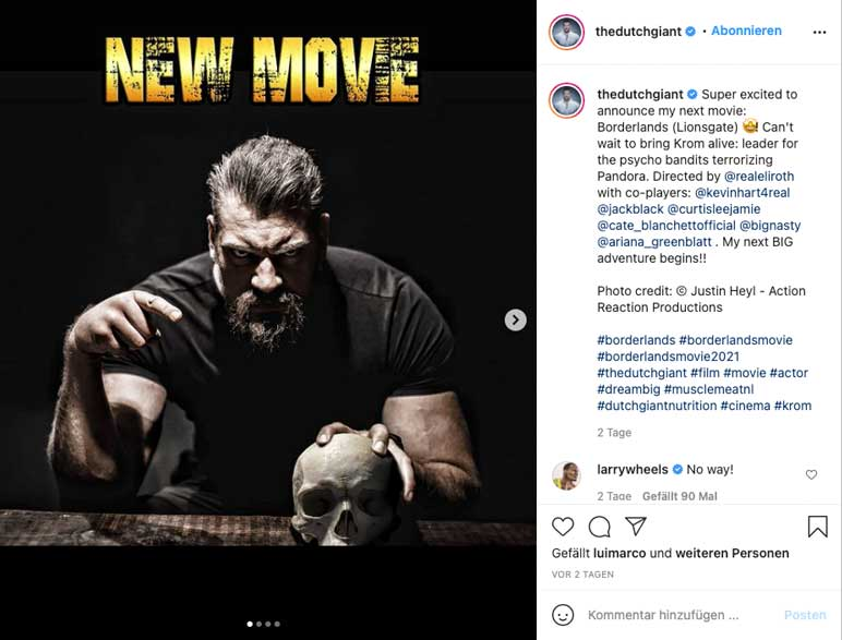 Instagram: Olivier Richter in der Rolle als Krom im Film Boarderlands