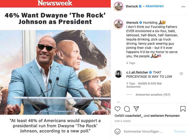 Instagram: The Rock äußert sich zur Umfrage bezüglich der Präsidentschaftswahl