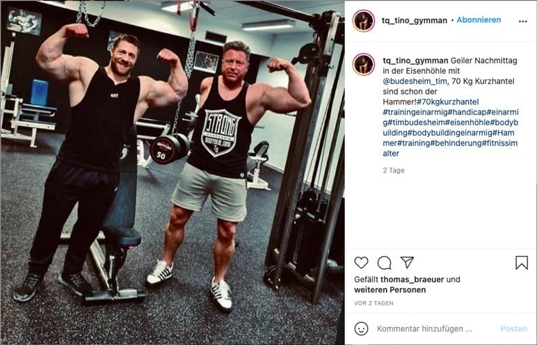 Instagram: Tim Budesheim trainiert mit dem einarmigen Tino