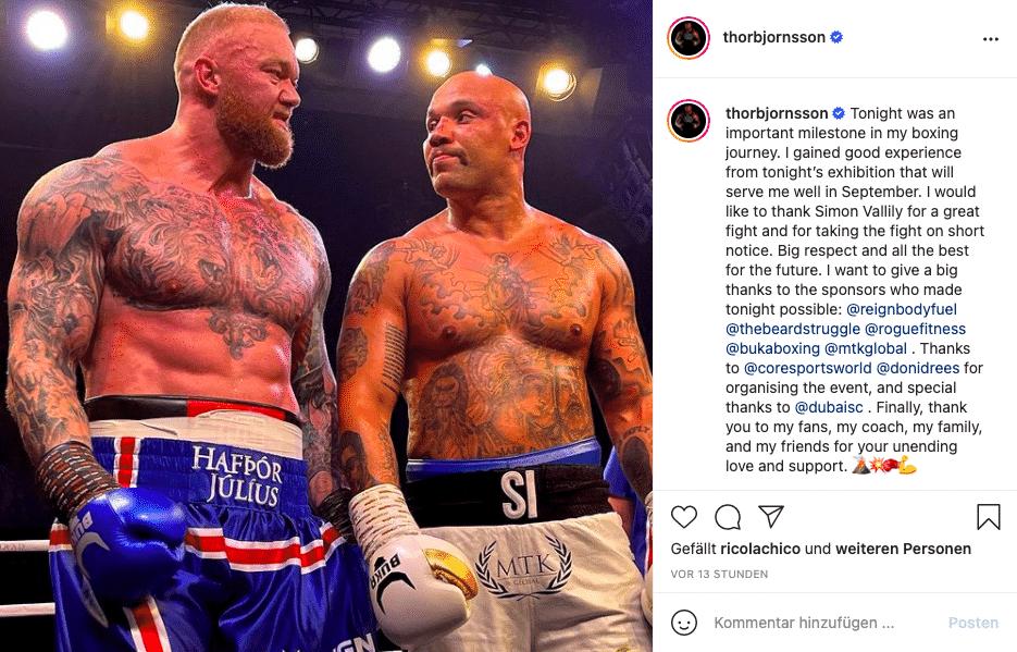 Instagram: Hafthor Björnsson beim Boxkampf gegen Simon Vallily