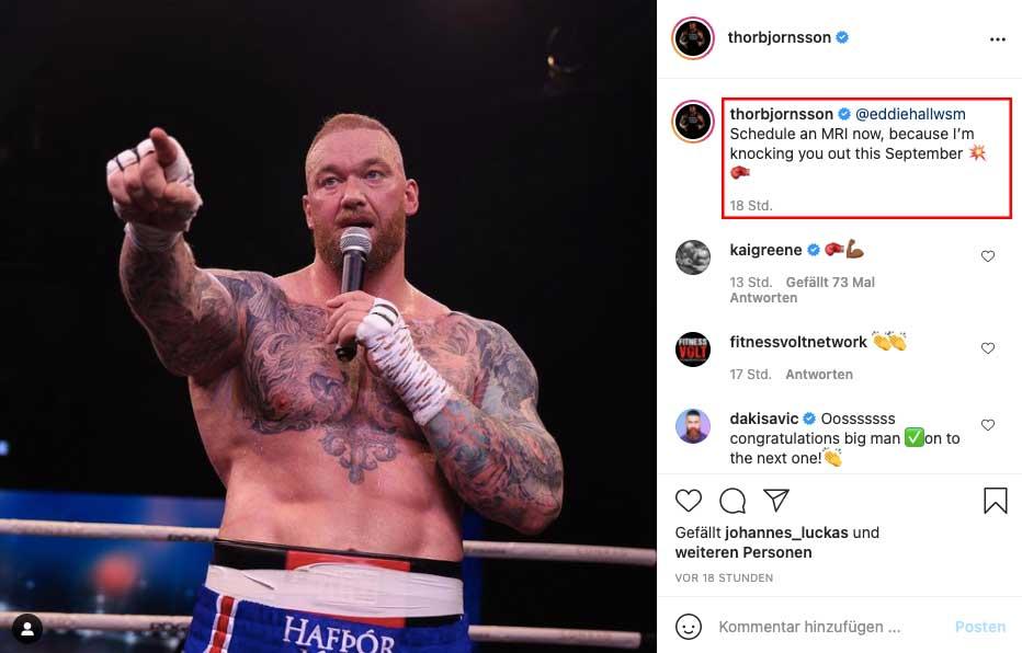 Instagram: Hafthor Björnsson sendet Botschaft an Eddie Hall