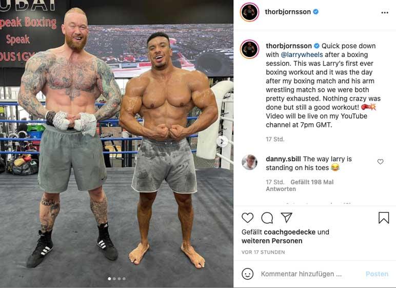 Instagram: Hafthor Björnsson beim Boxtraining mit Larry Wheels