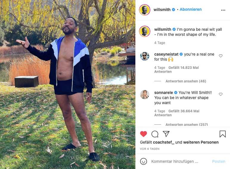 Instagram: Will Smith zeigt seinen Quarantäne-Körper