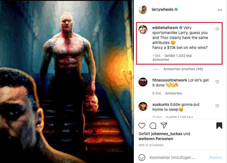 Instagram: Larry Wheels stellt sich gegen Eddie Hall