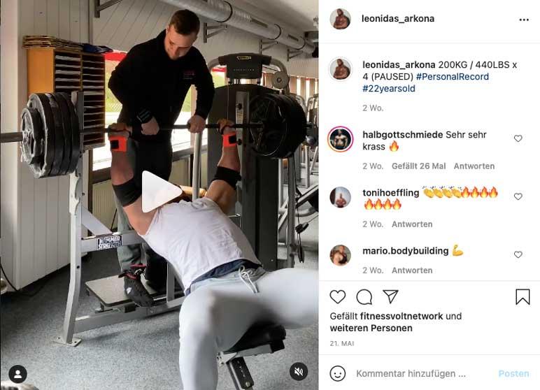Instagram: Leonidas Arkona drückt 200 Kilogramm auf der Bank