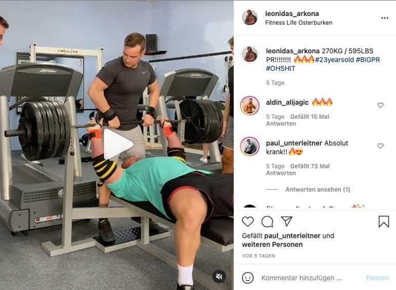 Instagram: Leonidas Arkona absolviert 270 Kilogramm im Bankdrücken