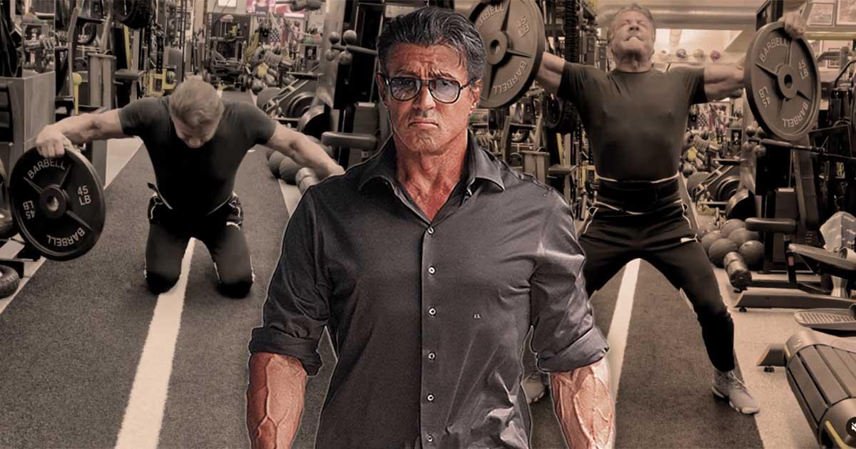 Titelbild: Sylvester Stallone trainiert mit Fake-Gewichten?!