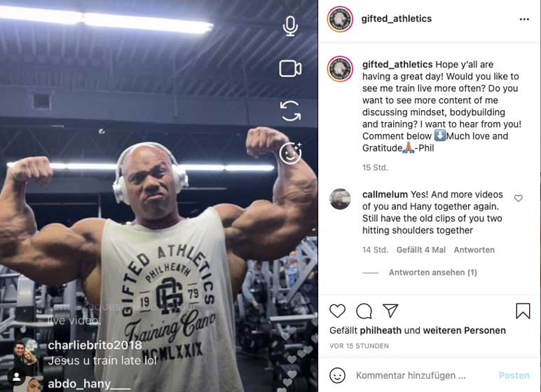 Instagram: Phil Heath beim Training