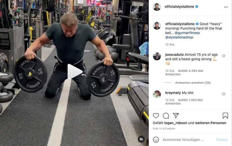 Instagram: Sylvester Stallone beim Training